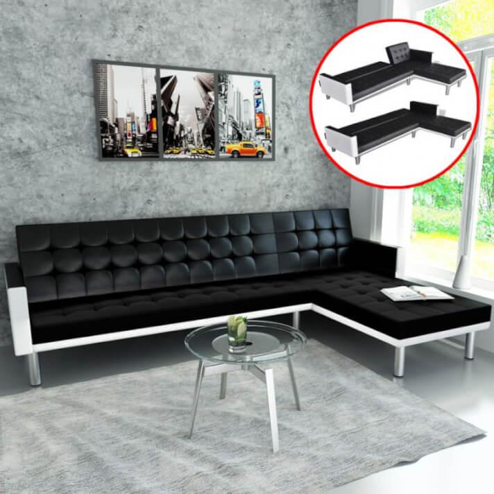 Sofá cama en forma de L cuero sintético negro Vida XL