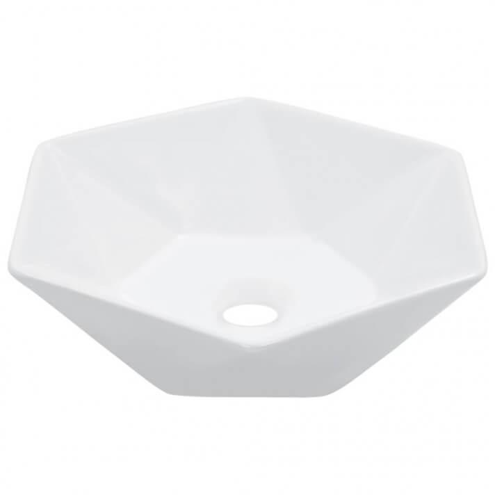 Lavabo hexagonal de cerámica blanco 41cm Vida XL