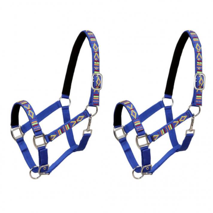 Cabezadas de caballo nylon tamaño grande azul 2 unidades Vida XL