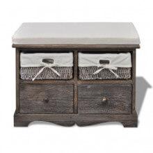 Banco de almacenamiento de madera marrón 2...