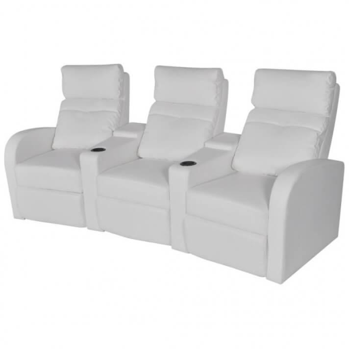 Sillón reclinable con 3 plazas de cuero artificial blanco Vida XL