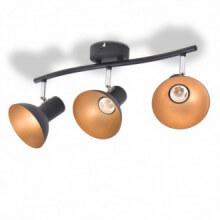 Lámpara de techo para 3 bombillas E27 negra y...