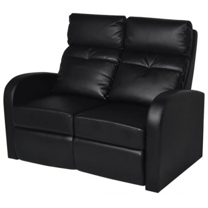 Sillón reclinable de 2 plazas de cuero artificial negro Vida XL