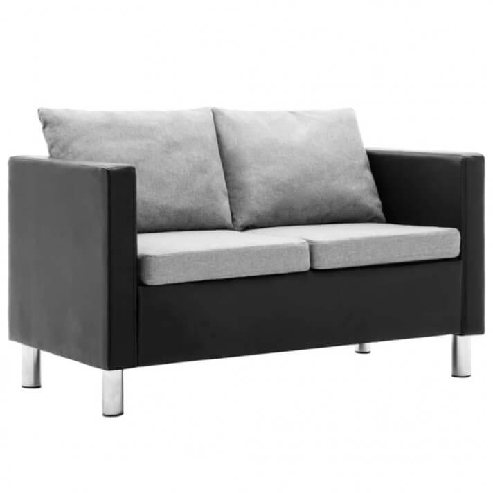 Sofá de 2 plazas de cuero sintético negro y gris claro Vida XL
