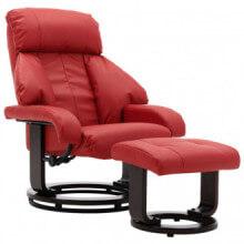 Sillón reclinable para TV con reposapiés cuero...