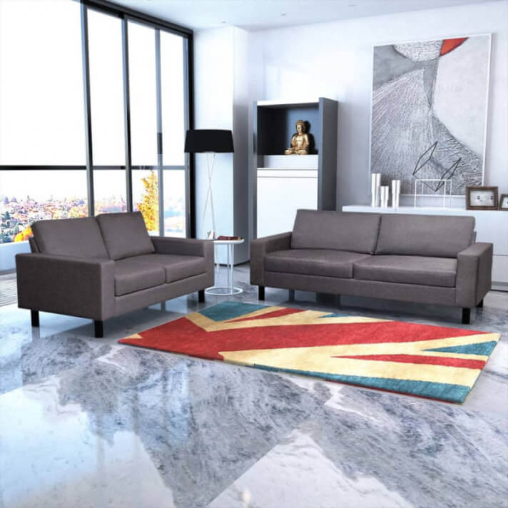 Conjunto de sofás de 2 y 3 plazas de tela gris oscuro Vida XL