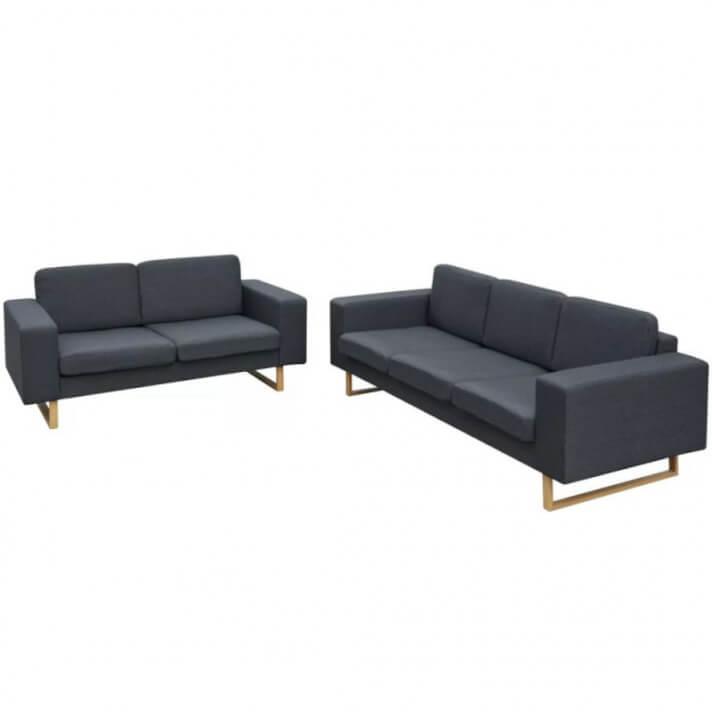 Conjunto de sofás de 2 y 3 plazas gris oscuro Vida XL