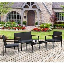 Conjunto de sillones y mesa 4 piezas gris y...