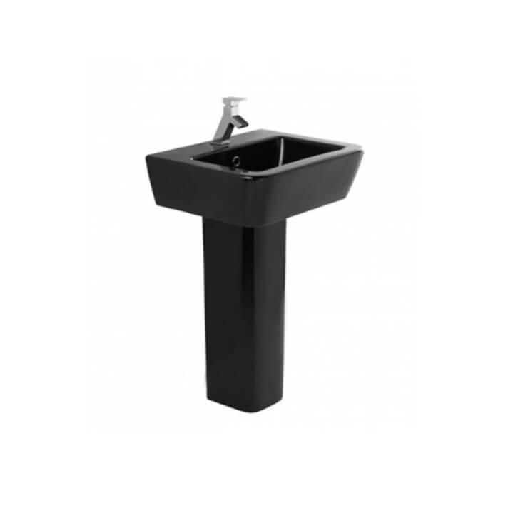Lavabo negro con pedestal ADVANCE de 55 cm Unisan