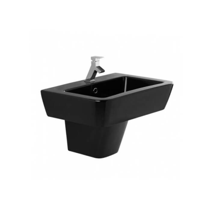 Lavabo negro semi pedestal Advance de 65 cm Unisan