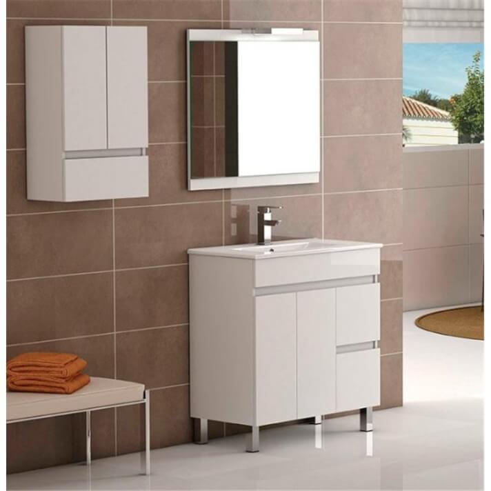 Conjunto mueble de baño con espejo Nele blanco Futurbaño