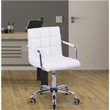 Silla de oficina blanca de cuero sintético con...