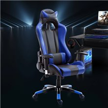 Silla de oficina gaming en color azul y negro...