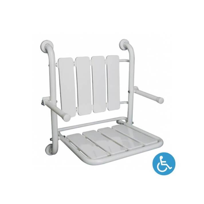 Siège pour douche repliable WCCARE fixe avec accoudoirs Sanindusa
