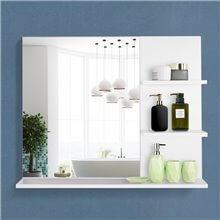 Espejo con tres estantes de color blanco Kleankin