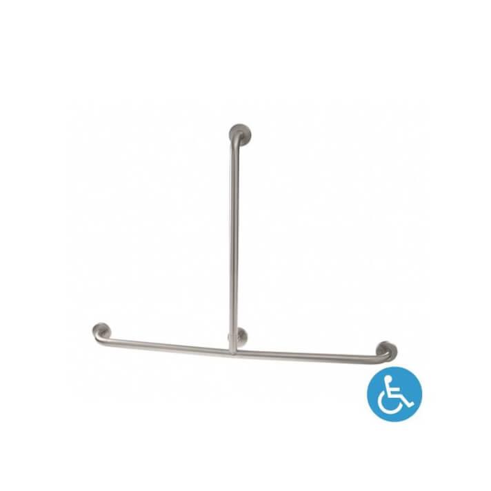 Barre d'appui droite avec barre verticale WCCARE chromée Sanindusa