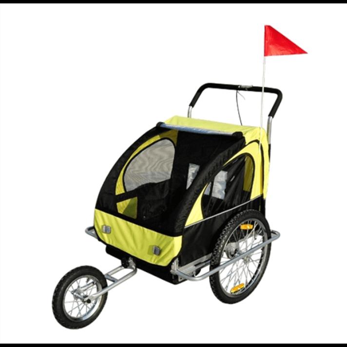 Remolque para niños 2 plazas multiuso amarillo Homcom