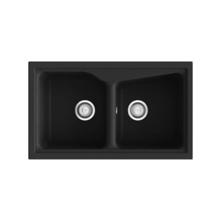 Fregadero de 2 cubas negro 86 x 51cm City Poalgi