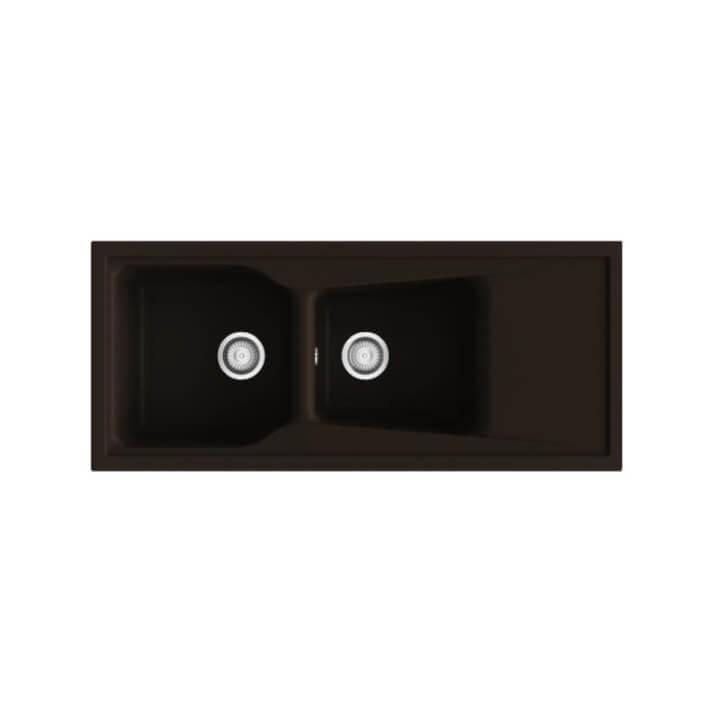 Fregadero de 2 cubas con escurridor Brown 118 x 51cm City Poalgi