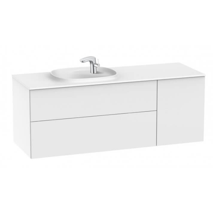 Mueble Unik Beyond con lavabo izquierdo Blanco Brillo 140cm Surfex Roca