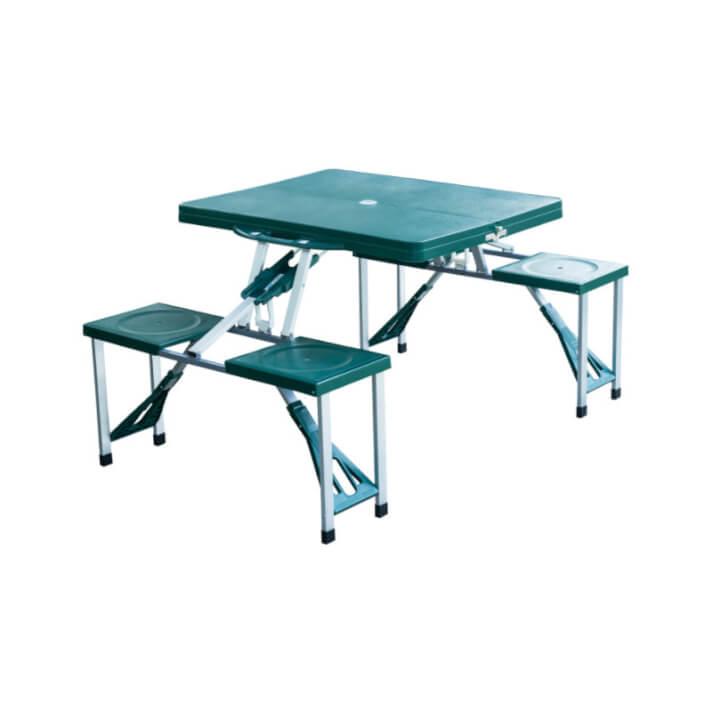Mesa plegable para pícnic de cuatro asientos verde Outsunny