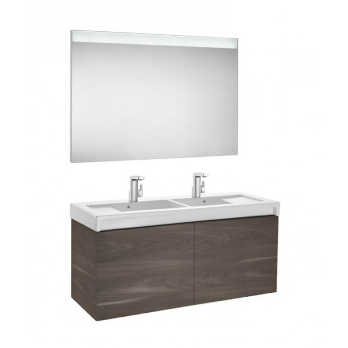 Mueble de baño con lavabo doble y espejo LED 130cm Yosemite Stratum Roca