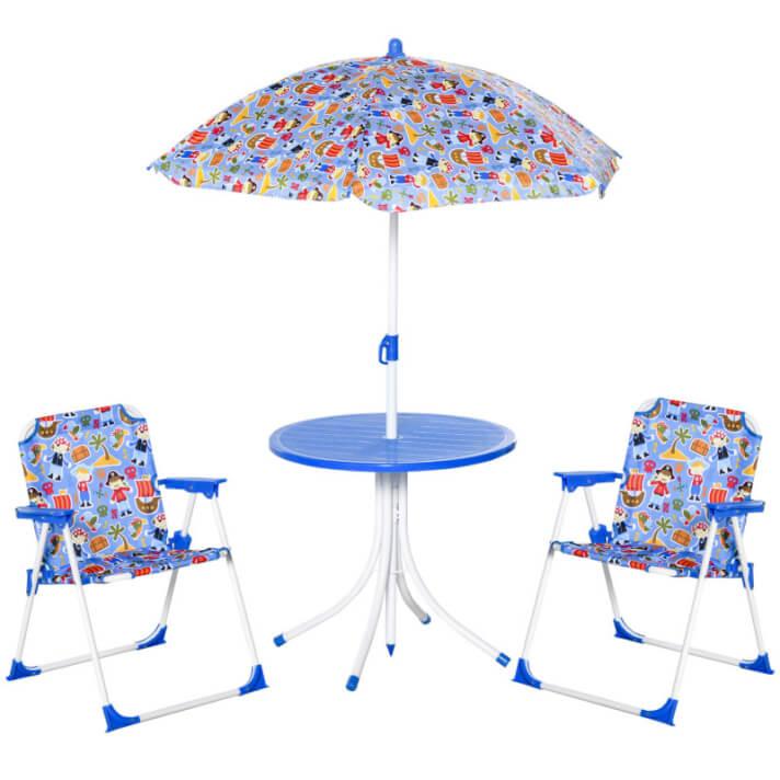 Set infantil de pícnic plegable azul Outsunny
