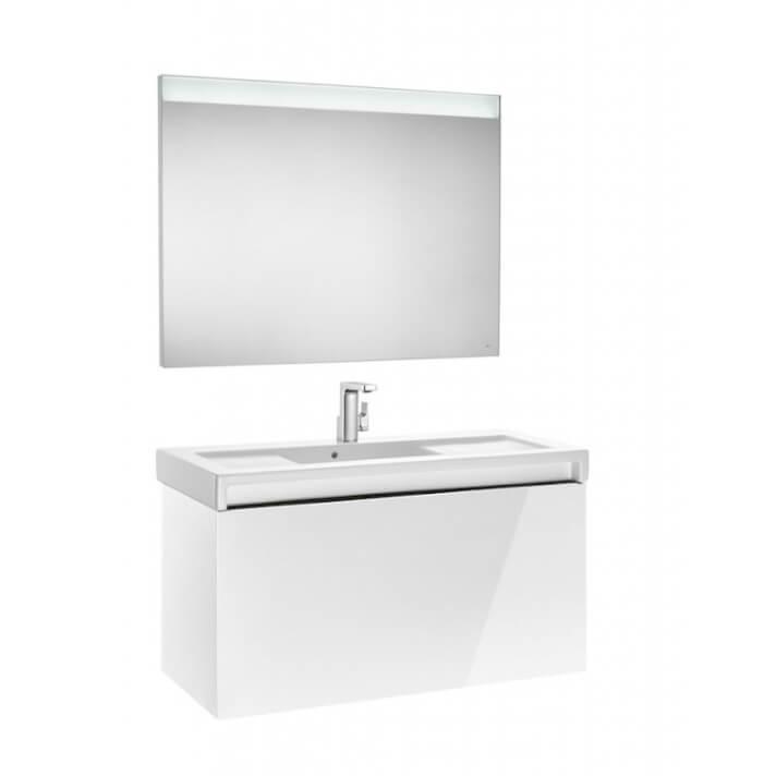 Mueble de baño con lavabo y espejo LED 110cm Blanco Brillo Stratum Roca
