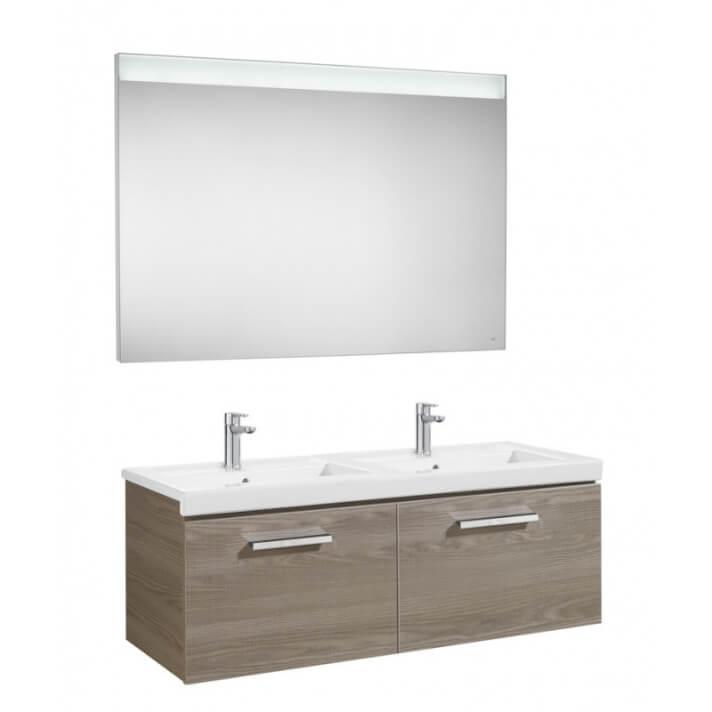 Mueble de baño con lavabo doble y espejo LED 120cm Fresno Prisma Roca