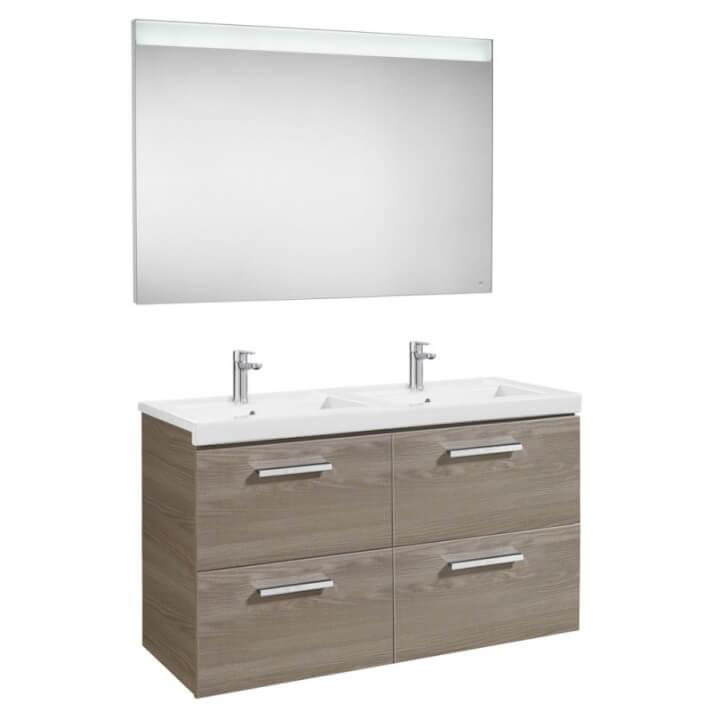 Mueble de baño con cuatro cajones y espejo LED 120cm Fresno Prisma Roca