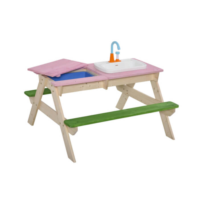 Mesa de pícnic con banco y 14 juguetes Outsunny