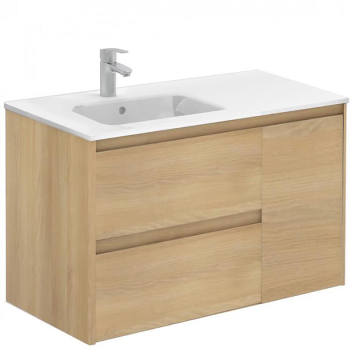 Mueble de baño con lavabo cerámico Roble nórdico 90cm Alfa Royo
