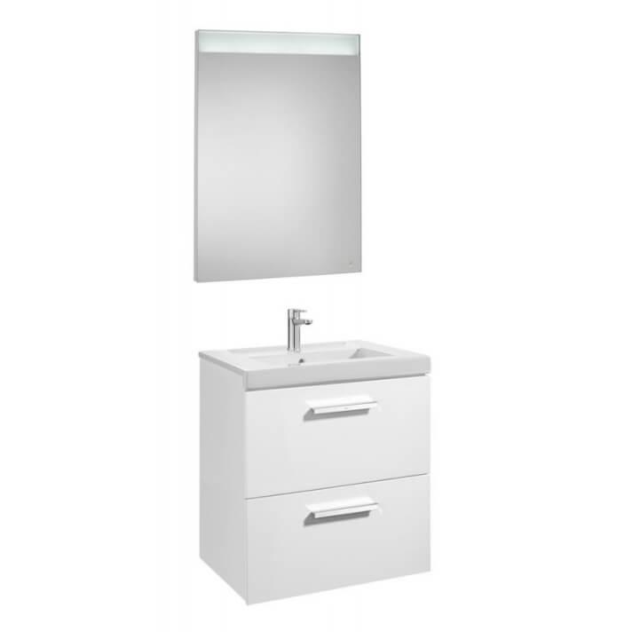 Mueble de baño con dos cajones y espejo LED 60cm Blanco Brillo Prisma Roca