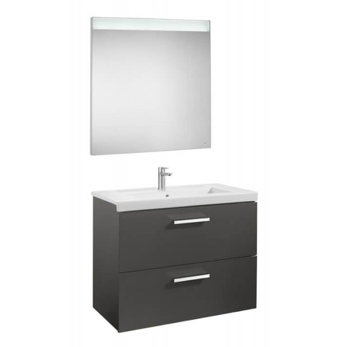 Mueble de baño con dos cajones y espejo LED 80cm Gris Antracita Prisma Roca