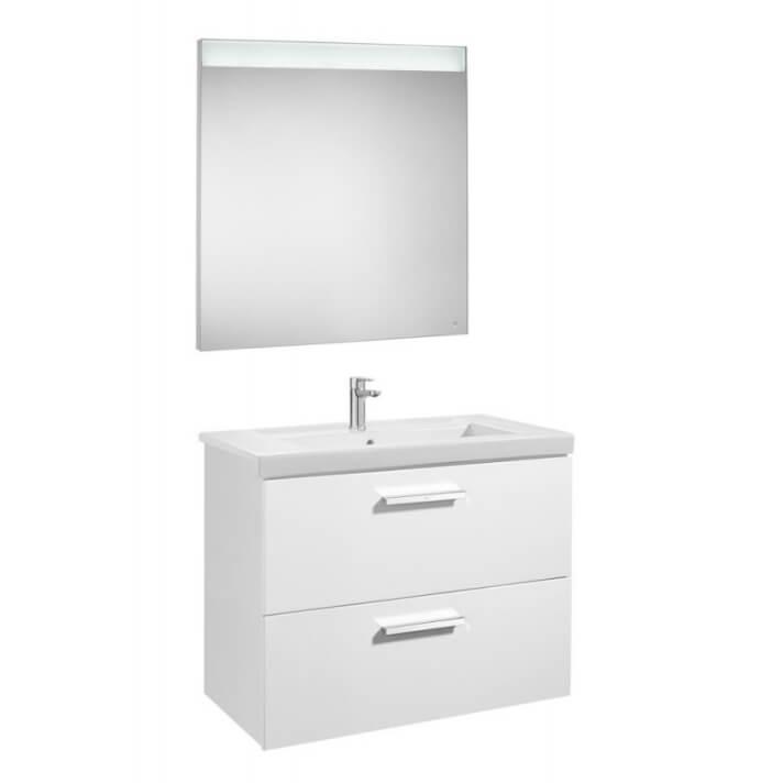 Mueble de baño con dos cajones y espejo LED 80cm Blanco Brillo Prisma Roca