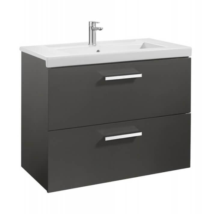 Mueble de baño con dos cajones 80cm Gris Antracita Prisma Roca