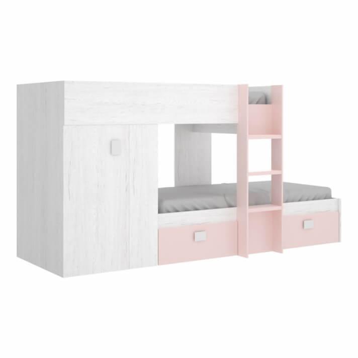Letto a castello con armadio e cassetti rosa e bianco Artik IberoDepot