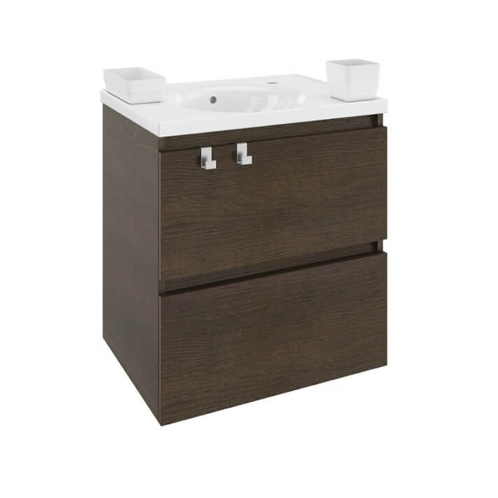 Mueble con lavabo porcelana 60cm Roble chocolate B-Box BATH+