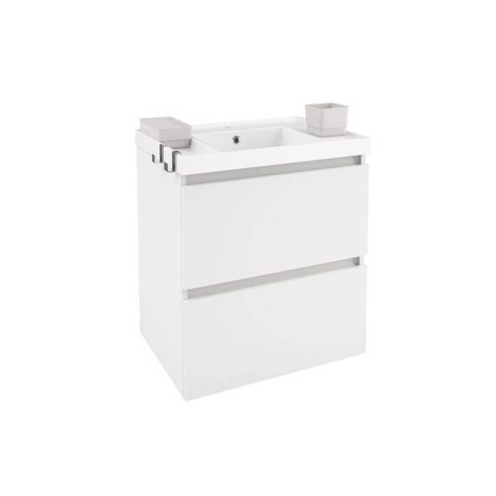 Meuble avec plan vasque en résine 60 cm Blanc B-Box Bath+