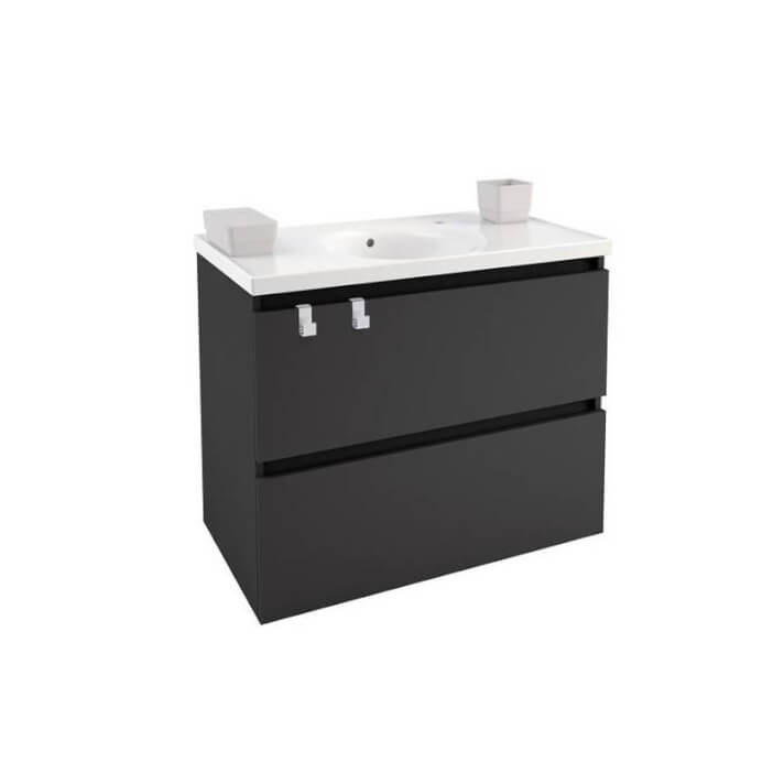 Mueble con lavabo porcelana 80cm Antracita B-Box BATH+