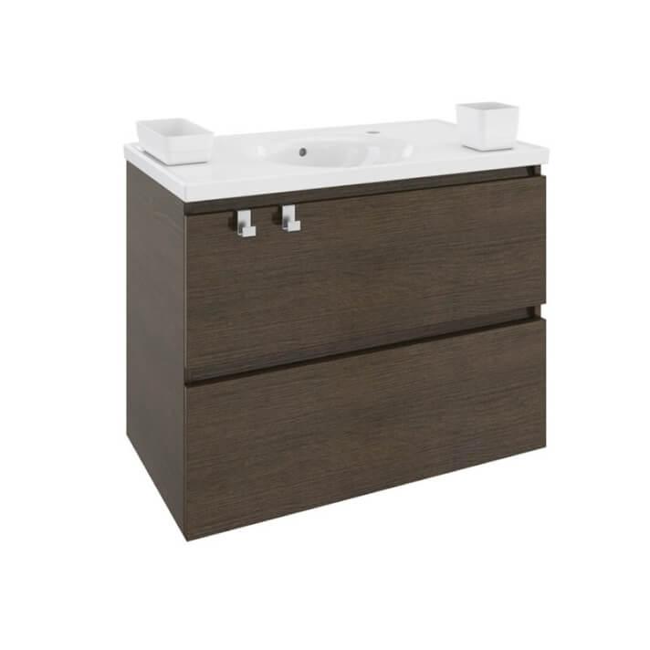 Móvel com lavatório de porcelana 80 cm Carvalho chocolate B-Box BATH+