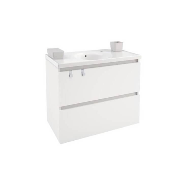 Mobile con lavabo in porcellana 80 cm Bianco B-Box BATH+