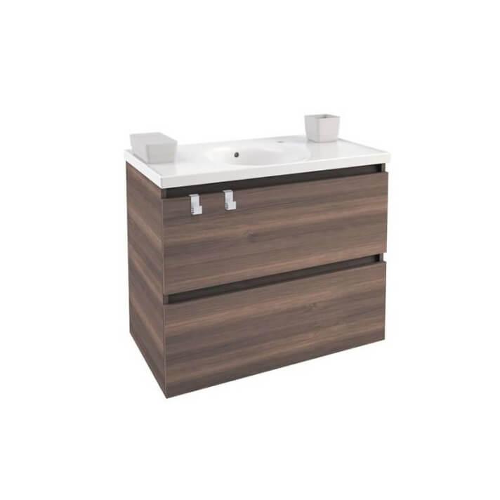 Meuble avec plan vasque en porcelaine 80 cm Frêne B-Box Bath+