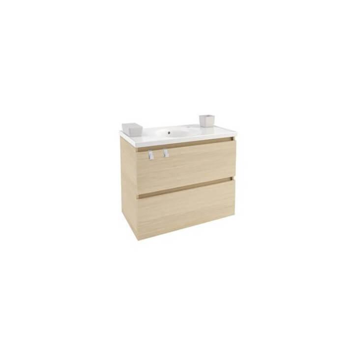 Mobile con lavabo in porcellana 80 cm Rovere naturale B-Box BATH+