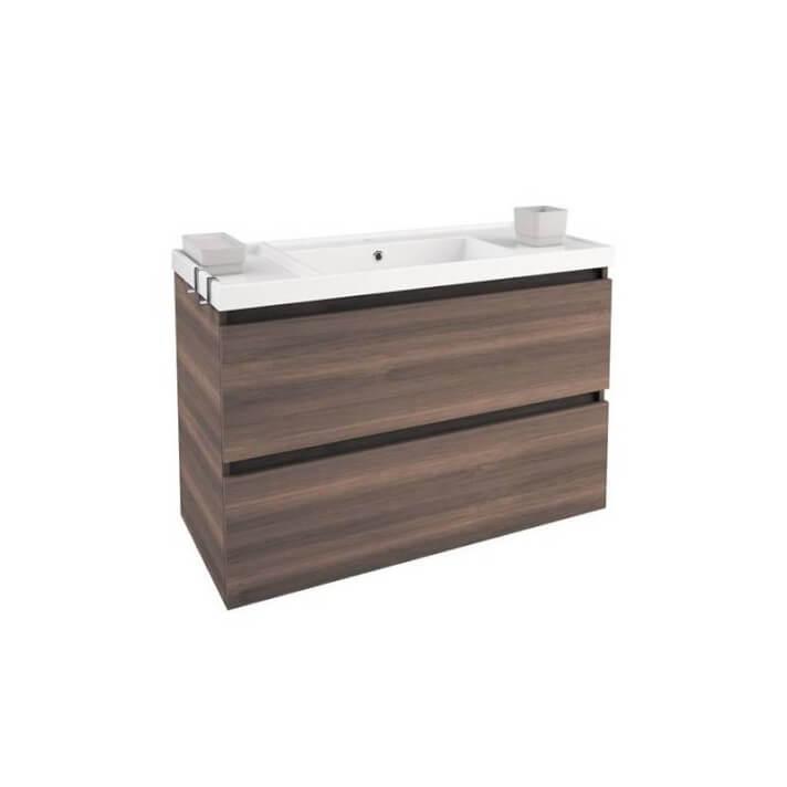 Meuble avec plan vasque en résine 100 cm Frêne B-Box Bath+