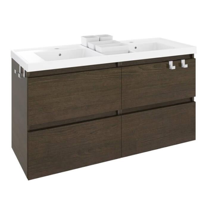 Mueble con lavabo resina 2 senos 120cm Roble chocolate B-Box BATH+