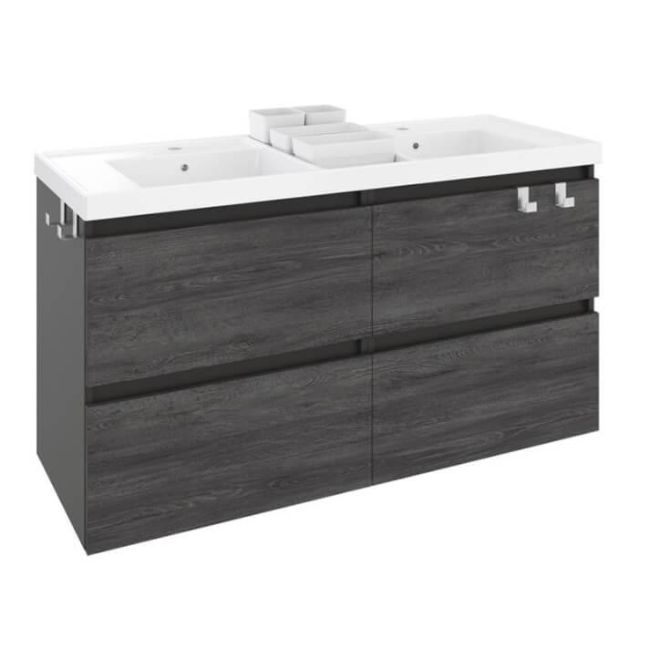 Mueble con lavabo resina 2 senos 120cm Antracita B-Box BATH+