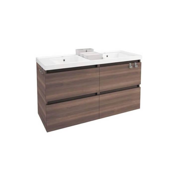 Mueble con lavabo resina 2 senos 120cm Fresno B-Box BATH+