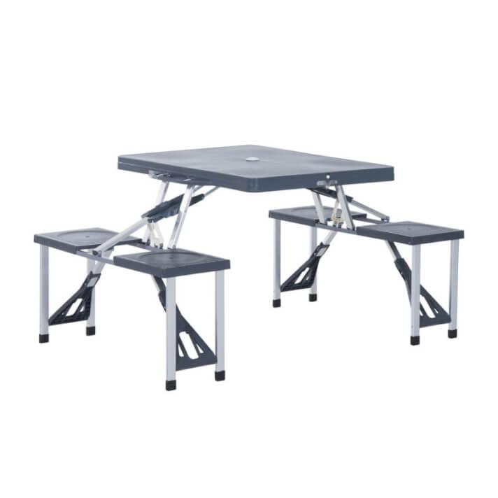 Mesa y 4 asientos de camping plegable a maleta en gris Outsunny