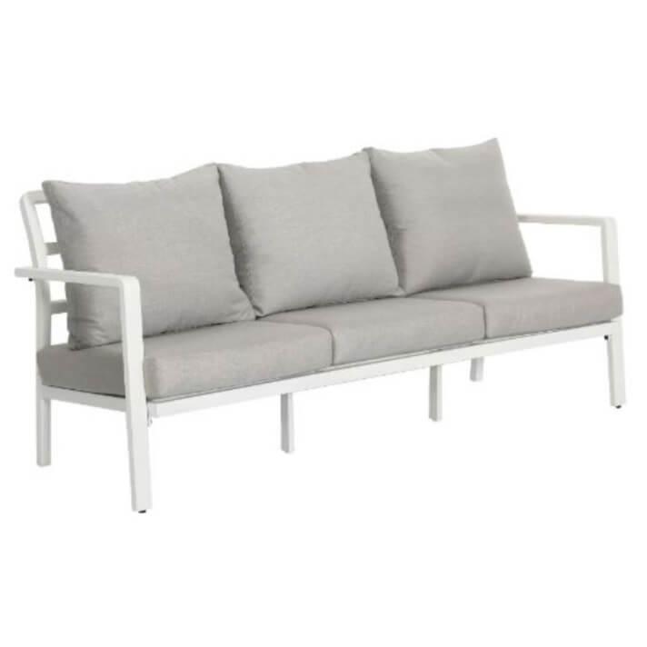 Sofá de exterior 3 plazas de aluminio color blanco IberoDepot